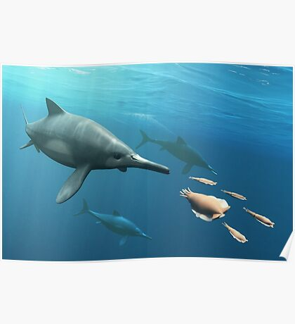 Ophthalmosaurus Hunting Poster
