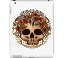 Skull with flowers crown and golden ornament iPad Case/Skin