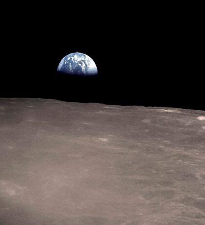 Earth rising above the Moon's horizon. Sticker