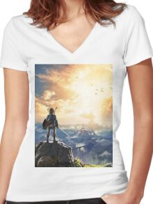 Zelda Breath of the Wild Women's Fitted V-Neck T-Shirt