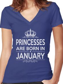 PRINCESSES ARE BORN IN JANUARY Women's Fitted V-Neck T-Shirt