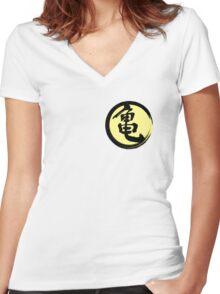 Kame kanji ink Women's Fitted V-Neck T-Shirt