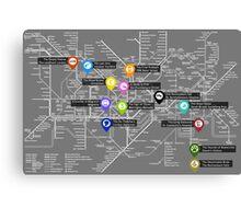 Sherlock Tube Map (Dark) Canvas Print
