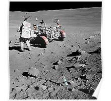 Apollo 16 astronaut stands near the Lunar Roving Vehicle. Poster