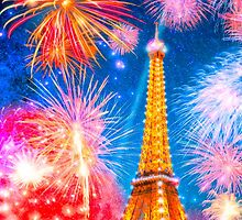 Enchantment in Paris - Fireworks Over The Eiffel Tower by Mark Tisdale