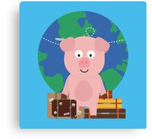 Globetrotter Travel Pig with Suitcases Canvas Print