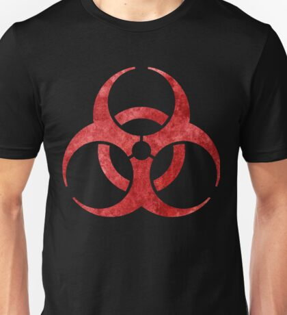 Red Biohazard Symbol Unisex T-Shirt