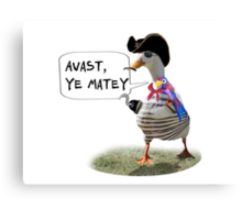 Pirate Captain Duck with Hook Hand Canvas Print