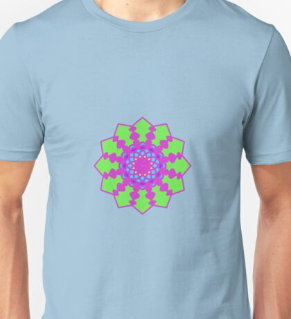 Psychedelic Pink and Green Mandela Flower Unisex T-Shirt