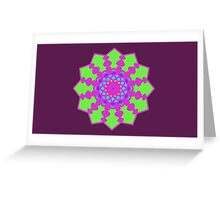 Psychedelic Pink and Green Mandela Flower Greeting Card