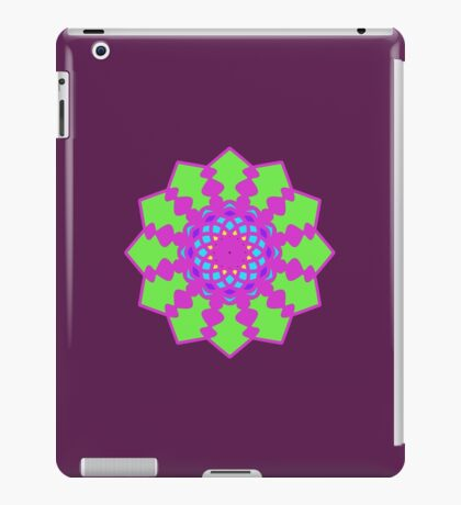 Psychedelic Pink and Green Mandela Flower iPad Case/Skin