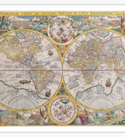 Vintage global map illustration Sticker