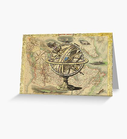 Vintage nautical compass and map illustration Greeting Card