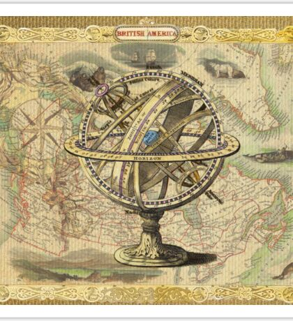 Vintage nautical compass and map illustration Sticker