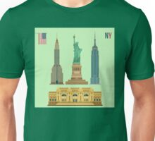 Set of New York Famous Buildings: Statue of Liberty, Metropolitan Museum of Art, Empire State Building, Chrysler Building Unisex T-Shirt