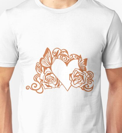 Valentine Heart with Roses Unisex T-Shirt