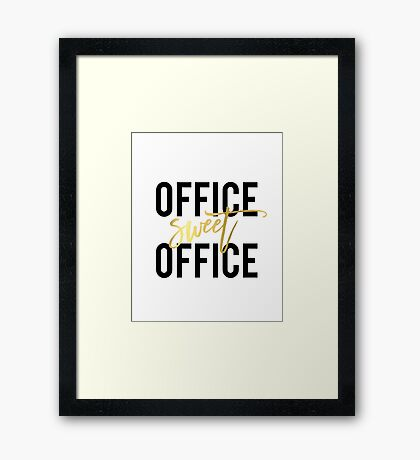 Office Sweet Office Printable Wall Art, 8x10 Art Print,Home Office Poster, Work Print,Black and White Calligraphy, Office Decor Framed Print