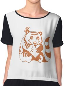 Valentine Racoon with Heart Chiffon Top