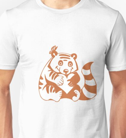 Valentine Racoon with Heart Unisex T-Shirt