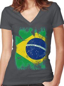 Flag of Brazil Women's Fitted V-Neck T-Shirt