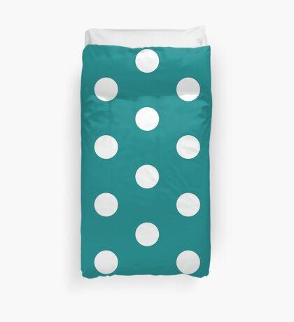 Teal polka dot white size:all Top Duvet Cover