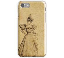 Victorian girl on floral vintage background iPhone Case/Skin
