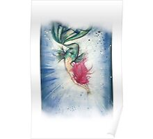 Voluptuous Mermaid Diving into Water Poster