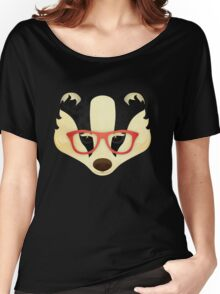 Hipster Badger: Red Women's Relaxed Fit T-Shirt