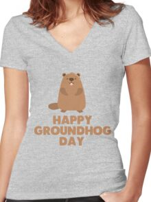 Awesome Groundhog Day Design  Women's Fitted V-Neck T-Shirt