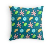 Microbe party Throw Pillow