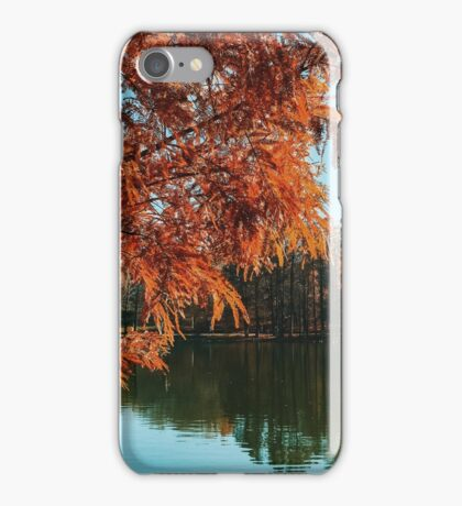 Yellow Autumn Tree On Lake Water With Reflection Background iPhone Case/Skin