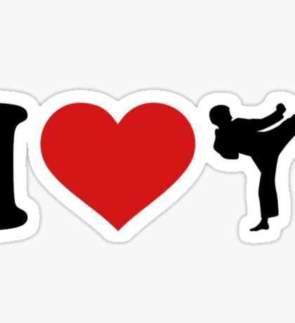 I Love Karate Funny Taekwondo Shirts Sticker