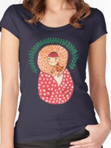 The Fox and the Strawberry girl Women's Fitted Scoop T-Shirt