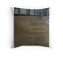 footprints in the sand with poem Throw Pillow