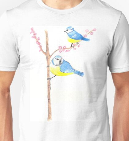 Little Blue Bird and Blossoms Unisex T-Shirt