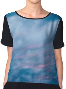 Cloudy blue and pink sky photograph Chiffon Top