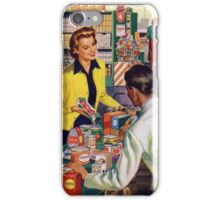 Retro housewife grocery shopping iPhone Case/Skin