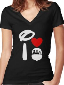 I Heart Haunted Mansion (Inverted) Women's Fitted V-Neck T-Shirt