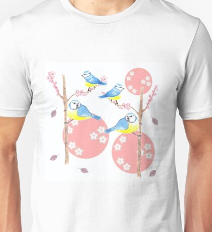 Little Birds and Blossoms Calm and Bright Unisex T-Shirt