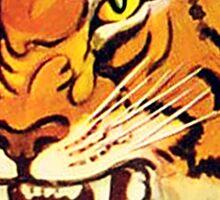 TIGER, Head, Big Cat, Growl, Snarl, Attack, Vintage Poster,  Sticker