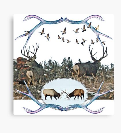 Deer elk and geese  Canvas Print