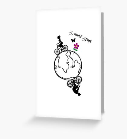 Steampunk Silhouette Couple On Bikes Around The World Greeting Card