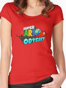 Super Mario Odyssey Logo Women's Fitted Scoop T-Shirt