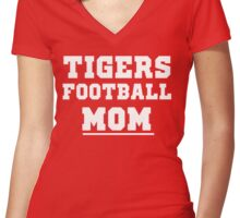 Tigers Football mom for school or college sports moms Women's Fitted V-Neck T-Shirt