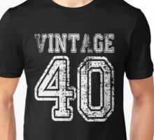 Vintage 40 2040 1940 T-shirt Birthday Gift Age Year Old Boy Girl Cute Funny Man Woman Jersey Style Unisex T-Shirt