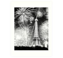 Brilliant Night In Paris - Eiffel Tower Fireworks Art Print
