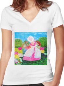 Gretchen in the Garden Pink by Marie-Jose Pappas Women's Fitted V-Neck T-Shirt