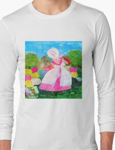 Gretchen in the Garden Pink by Marie-Jose Pappas Long Sleeve T-Shirt