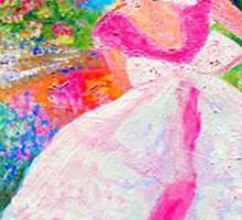 Gretchen in the Garden Pink by Marie-Jose Pappas Sticker