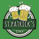 Green Happy St Patricks Day Shield With Two Beers by pjwuebker